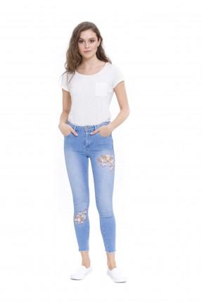 بنطال نسائي جينز منقوش ورد