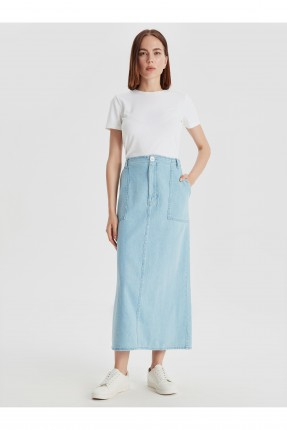 تنورة طويلة جينز بجيوب