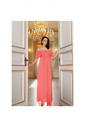 فستان رسمي طويل باكتاف كشكش