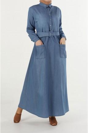 فستان سبور جينز بجيوب امامية