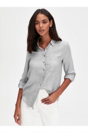 قميص نسائي مخطط ناعم