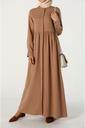 فستان سبور طويل بازرار مخفية