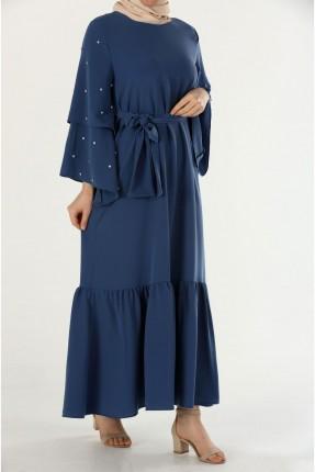 فستان رسمي طويل باكمام مزينة باللؤلؤ
