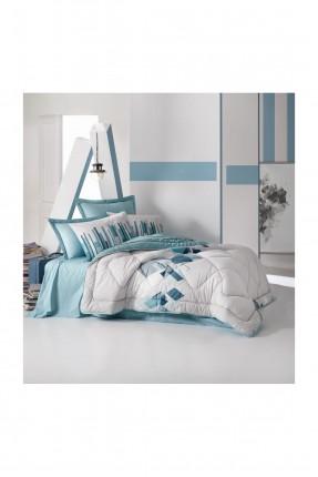 طقم لحاف سرير فردي مزين بمربعات ملونة