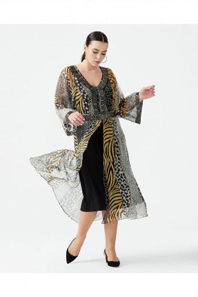 فستان رسمي شيفون منقوش جلد النمر