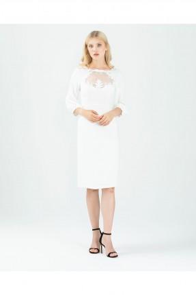 فستان رسمي مزين بياقة شيفون