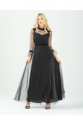 فستان رسمي طويل منقط