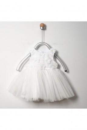 فستان بيبي بناتي حفر مزين بالورود