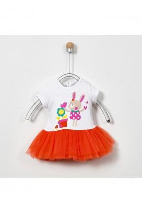 فستان بيبي بناتي بلونين مع طبعة ارنب