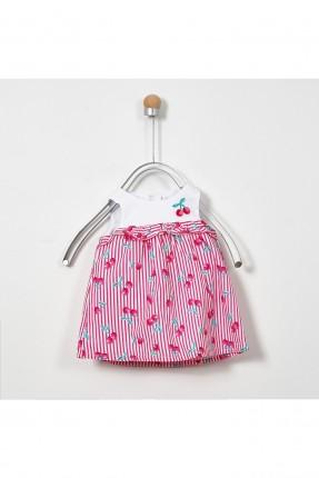 فستان بيبي بناتي مخطط مزين بالكرز