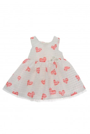 فستان بيبي بناتي مزين بالقلوب