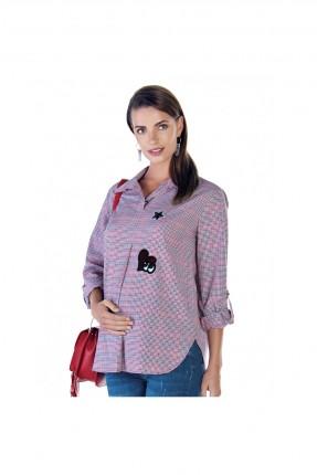 بلوز حمل كاروهات بياقة قميص