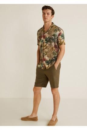قميص رجالي مزين باوراق الشجر