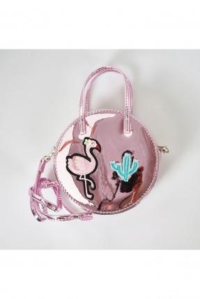 حقيبة يد اطفال بناتي بلمعة مع طبعة