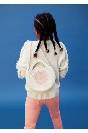 حقيبة يد اطفال بناتي قش دائرية