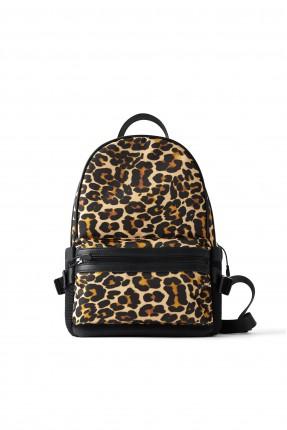 حقيبة ظهر نسائية بنقشة جلد النمر