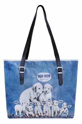 حقيبة يد نسائية بطبعة كلاب