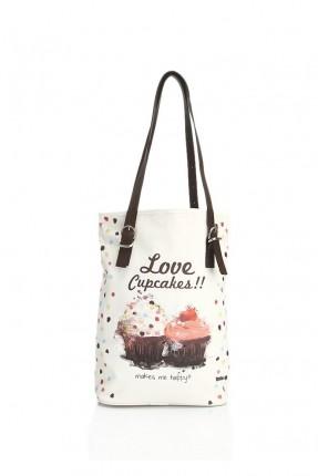حقيبة يد نسائية بطبعة حلويات