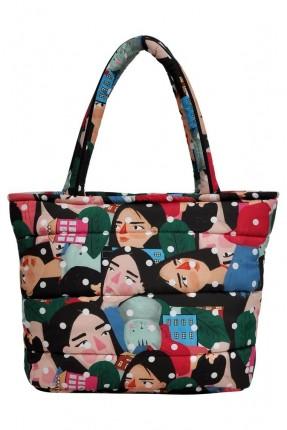 حقيبة يد نسائية بطبعة وجوه ملونة