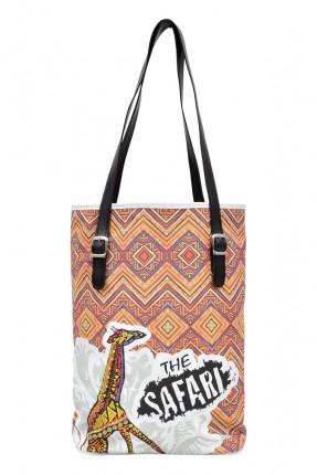 حقيبة يد نسائية بطبعة زخرفة ملونة
