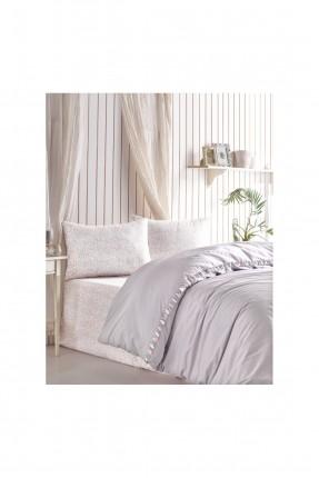 طقم غطاء سرير فردي مزين بشراشيب ملونة
