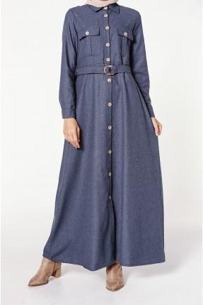 فستان سبور طويل بجيوب امامية