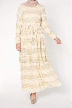 فستان سبور طويل مزخرفة بدانتيل