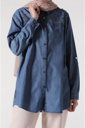 قميص نسائي جينز مزين بالخرز