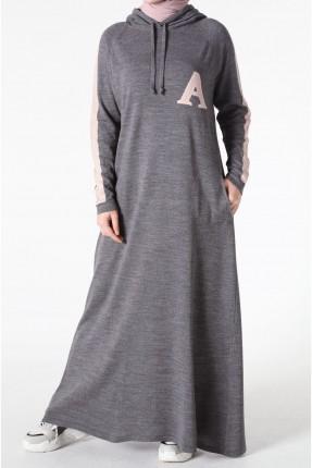 فستان سبور طويل مع كابيشون