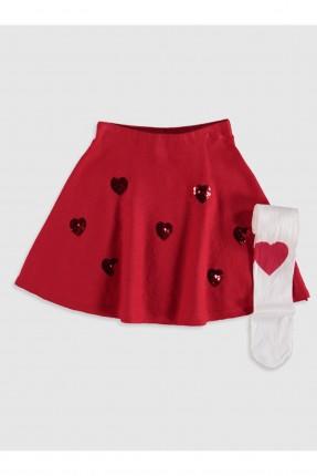 تنورة اطفال بناتي مزين بطبعات قلب
