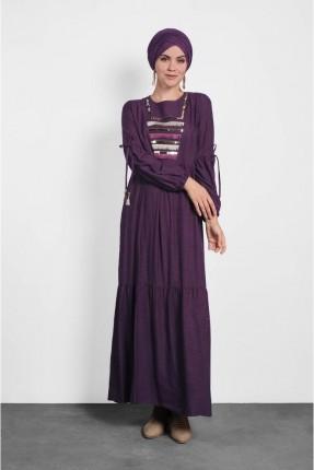 فستان سبور طويل مزين بشراشيب
