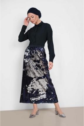 تنورة طويلة رسمية مزينة بالترتر