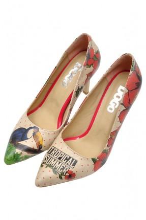 حذاء نسائي بطبعة طائر الطوقان