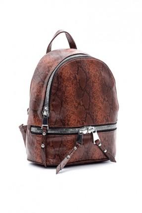 حقيبة ظهر نسائية بنقشة جلد ثعبان