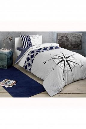 طقم غطاء سرير فردي بطبعة بوصلة