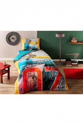 طقم غطاء سرير فردي مزين بكتابات