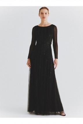 فستان رسمي طويل باكمام مخططة