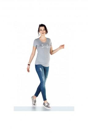 بنطال جينز حمل مزين باللؤلؤ