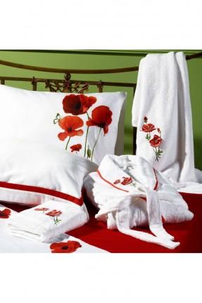 طقم بطانية سرير مزدوج مورد مع برنص