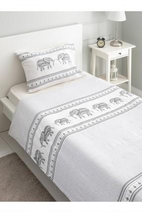 طقم غطاء سرير فردي مزين برسمة فيل
