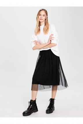 تنورة قصيرة شيفون مع كسرات
