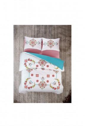 طقم غطاء سرير فردي مزخرف ورد