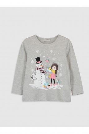 كنزة اطفال بناتي بطبعة رجل الثلج