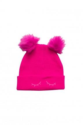 قبعة اطفال بناتية مزينة بكرات فرو