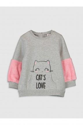 كنزة بيبي بناتي بطبعة قطة