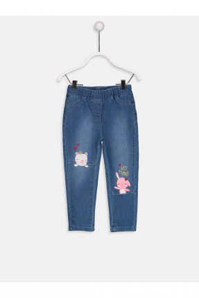بنطال جينز بيبي بناتي بخصر مطاطي