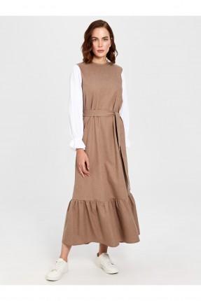 فستان سبور طويل مزين بكشكش