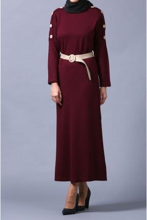فستان طويل باكمام مزينة بازرار