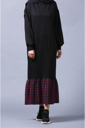 فستان سبور طويل كاروهات من الاسفل