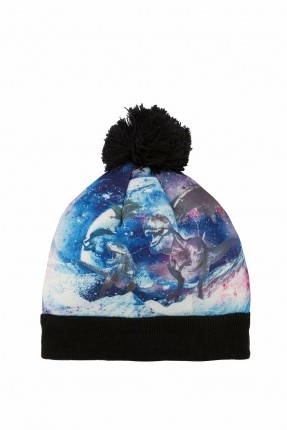 قبعة اطفال ولادية ملونة ومزينة بكرة فرو